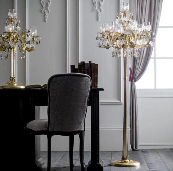 Хрустальные торшеры в интерьере квартиры