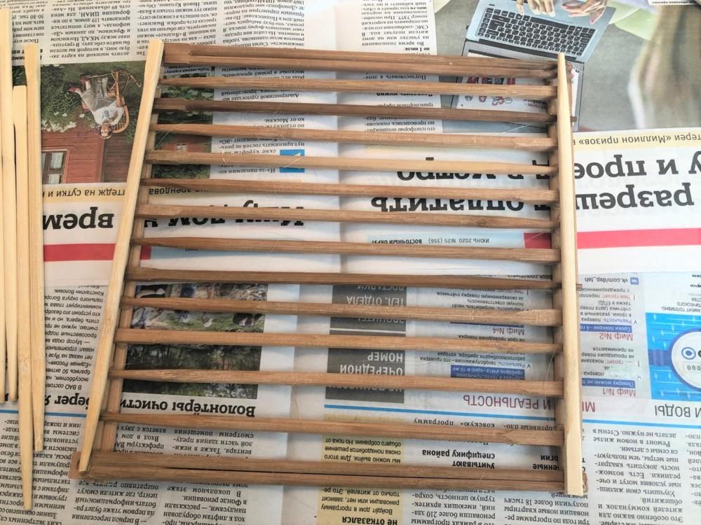 Дно корзинки из бамбуковых палочек
