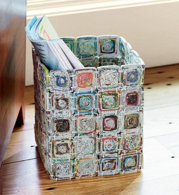 Необычные корзины из газетных трубочек своими руками