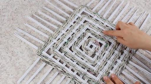 Плетение дна корзины