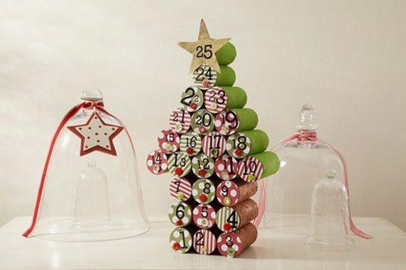 Новогодняя елка из бумажных втулок