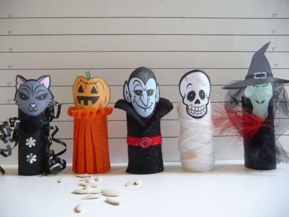 Поделки на Хэллоуин из картонных втулок