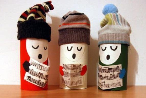 Рождественские игрушки из туалетных втулок