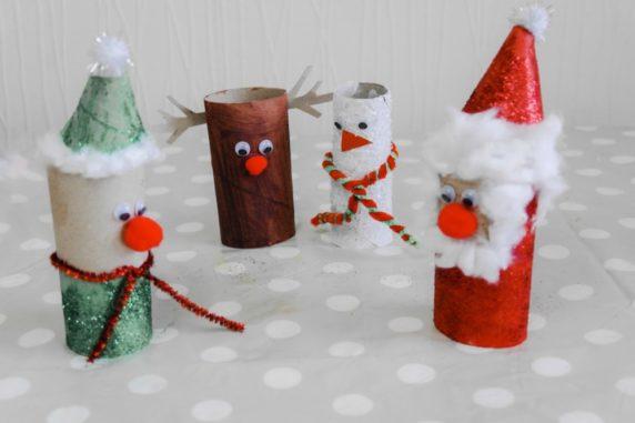 Рождественские игрушки из туалетных втулок своими руками