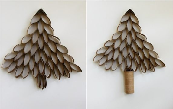 Простая елка из картонных втулок своими руками