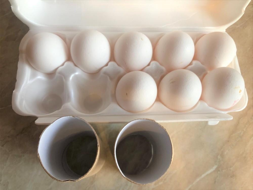 Подставка для яиц из бумажной втулки