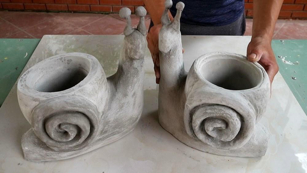 Улитка из цемента для сада своими руками
