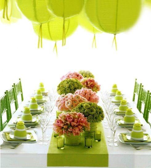 Сервировка стола салатовая