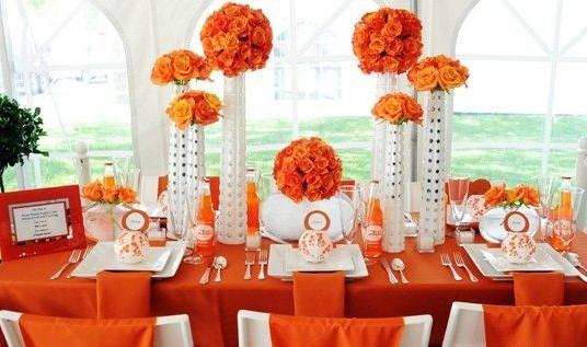 Оранжевая сервировка стола