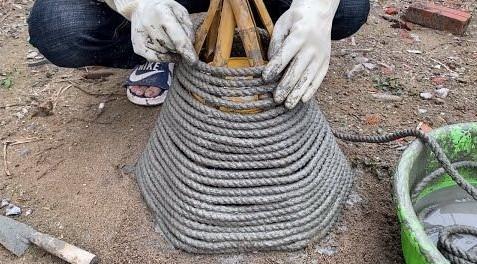 Корзина из каната и цемента для дачи