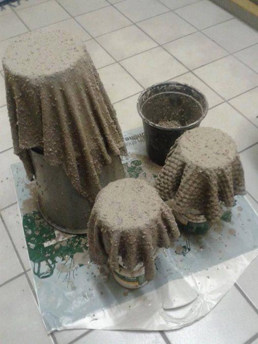 Поделки для сада из тряпок и цемента