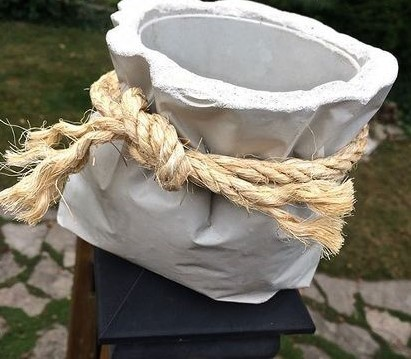 Корзина из каната и цемента для дачи своими руками