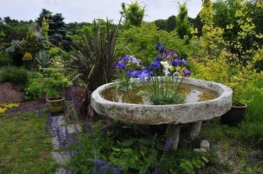 Круглый пруд из цемента для сада