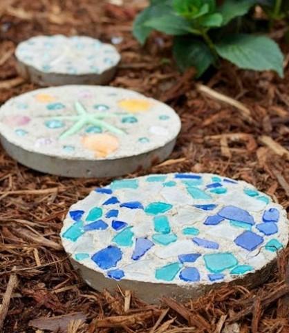Декор садовых поделок из бетона