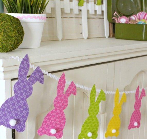Пасхальная гирлянда своими руками из бумажных кроликов