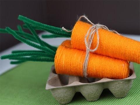 Пасхальная морковка из ниток своими руками