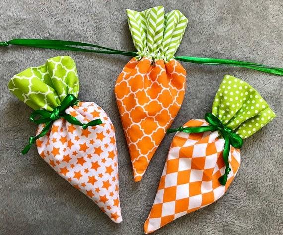 Морковь из ткани для пасхального декора