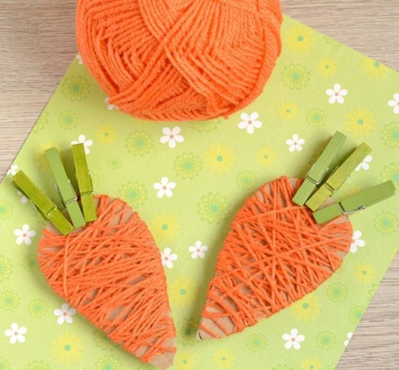 Морковь на пасху для декора своими руками из пряжи