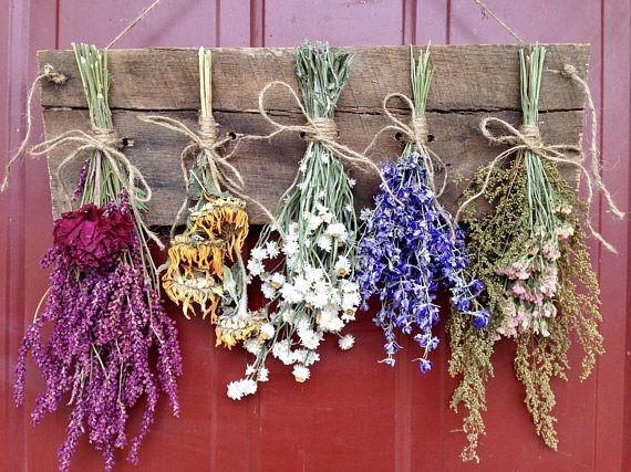 Подвешенные сухоцветы в интерьере